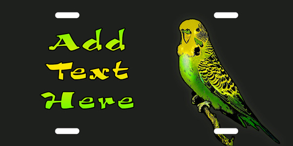 Budgie Parakeet License Plate, Budgie Parakeet License Tag