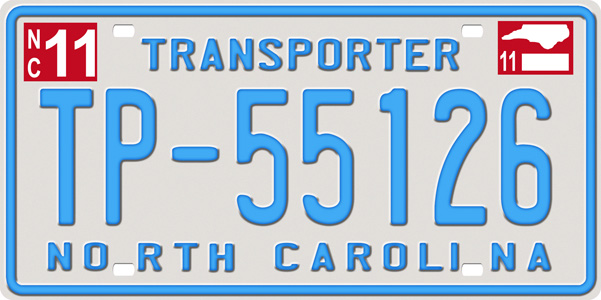 NCTransporter License Plate, NCTransporter License Tag