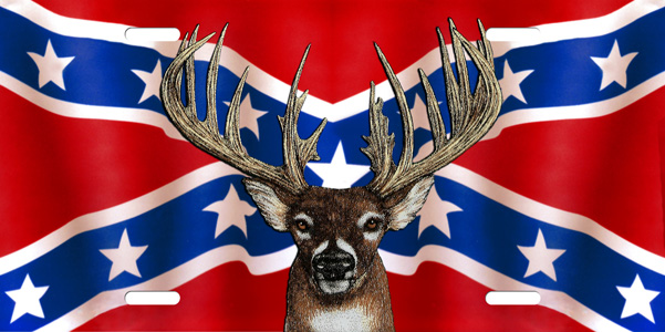 Buck on Rebel Flag License Plate, Buck on Rebel Flag License Tag