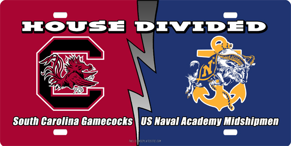 SC Gamecocks - US NA Midshipmen Hpuse Divided License Plate, SC Gamecocks - US NA Midshipmen Hpuse Divided License Tag