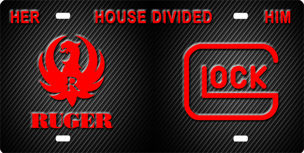 Ruger - Glock House Divided License Plate, Ruger - Glock House Divided License Tag