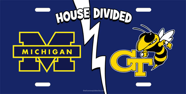 Michigan and Georgia Tech House Divided License Plate, Michigan and Georgia Tech House Divided License Tag