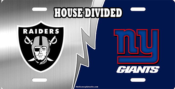 Raiders And Giants House Divided License Plate License Plate, Raiders And Giants House Divided License Plate License Tag