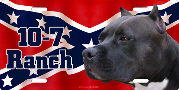 Pitbull 10-17 Ranch Rebel Flag  License Plate, Pitbull 10-17 Ranch Rebel Flag  License Tag