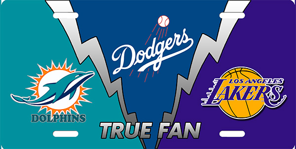 Dolphins Dodgers Lakers True Fan License Plate License Plate, Dolphins Dodgers Lakers True Fan License Plate License Tag