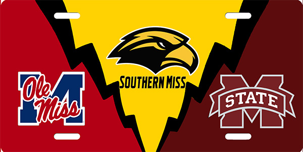 Ole Miss, USM, and MS State License late License Plate, Ole Miss, USM, and MS State License late License Tag