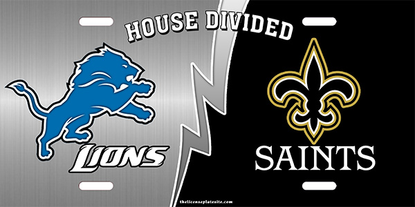 Lions and Saints House Divided License Plate License Plate, Lions and Saints House Divided License Plate License Tag