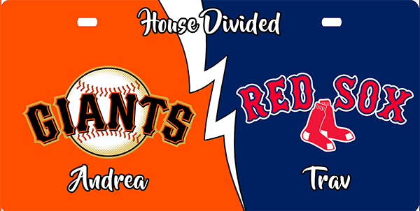 SF Giants and Boston Red Sox House Divided License Plate, SF Giants and Boston Red Sox House Divided License Tag