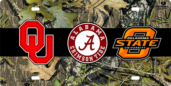 OU Alabama OSU Camo License Plate License Plate, OU Alabama OSU Camo License Plate License Tag